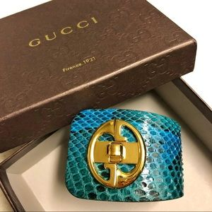 Gucci | Rare Teal Green Python Cuff Bracelet